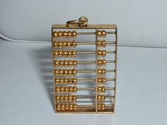VINTAGE 14k YELLOW GOLD MOVEABLE CHINESE ABACUS PENDANT CHARM #PendantCharm