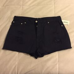Forever 21 | Black jean shorts Forever 21 black ripped Jean shorts. Never been worn; tags still on. Forever 21 Shorts Jean Shorts