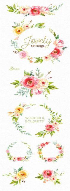 Schöne natürliche. Kränze und Blumensträuße. Aquarell Clipart