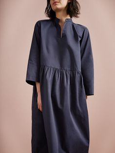 POPLIN GATHERED WAIST DRESS | Crisp cotton poplin. Easy, swingy cut. Kaftan neckline. Bracelet-length sleeves. Slightly dropped waist with gathers below. Gathers into back neckline. Pockets.