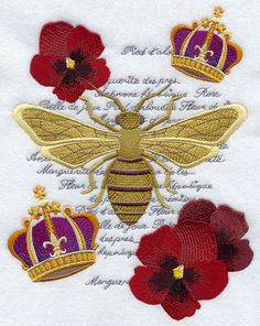 FRENCH BEE MEDLEY  Machine Embroidered Quilt by AzEmbroideryBarn, $37.50
