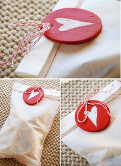 Clay heart tags