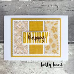 Paper Adventures Birthdays | yellow – kelly kent Birthday Card Design, Birthday Cards, Birthday Month, Yellow Theme, Yellow Birthday, One Sheet Wonder, Small Cards, Pretty Cards, Card Sketches