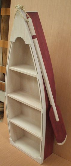 5 Foot Red Row Boat Bookshelf Bookcase Shelves Skiff Schooner Canoe Shelf…