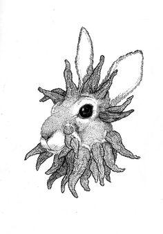 illustration par Sophie Hedon,  #lapin, #dessin, #papillomatose, #hachure, #gravure, #fleur intestinale, https://www.facebook.com/fleurintestinale