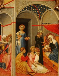 The Nativity of the Virgin (detail), tempera on panel, ca. 1400, Andrea di Bartolo (Sienes, active 1389-1428), National Gallery of Art, Washington DC., 2012