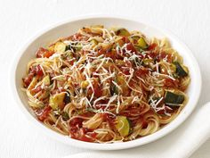 Capellini With Spicy Zucchini-Tomato Sauce recipe from Food Network Kitchen via Food Network