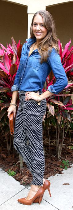 As a teacher, I would never wear heels. But, I love wearing patterned pants! Love the combo