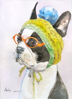 Original custom order commission for your pet or favorite animals - watercolor painting 5x7 or 6x6 inch. $12.00, via Etsy.