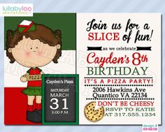 Pizza Party Invitations Girls 063 by LullabyLoo on Etsy, $18.00