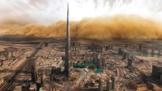 Nothing to worry about, this is normal in Dubai. A beautiful view of sandstorm heading towards Burj Khalifa