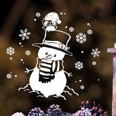 """**Fensterbild """"Schneemann mit Eule""""** zur weihnachtlichen Dekoration in der **Farbe WEISS** **Mit diesem Angebot erwerben Sie den Fensteraufkleber in der Größe:** S 35 cm hoch x 37 cm breit..."""