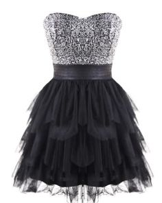 Sparkling Fairy Tale Dress: Features an elegant strapless cut, charming sweetheart neckline, sparkling sequin bodice crowning a banded empire waist, and a tiered noir chiffon skirt bursting with festive frills to finish.