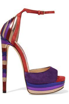 Jimmy Choo - Max Metallic Leather-paneled Suede Platform Sandals - Purple - IT39.5