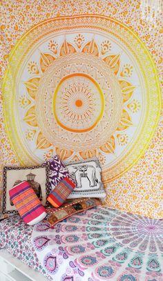 Classy Yellow Ombre Leafs Circle Medallion Tapestry, Mandala Wall Hanging on RoyalFurnish.com, $15.99