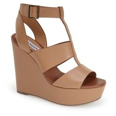 "Lola Cruz Chain T-Strap Wedge Sandal, 4 1/2"" heel found on ..."