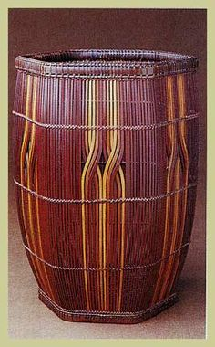 """Higashi Takesonosai's """"Colorful Streams,"""" 1999 (from Tai Gallery/Textile Arts) Japanese Bamboo, Japanese Art, Willow Weaving, Basket Weaving, Sisal, Contemporary Baskets, Bamboo Art, Basket Crafts, Fabric Structure"""