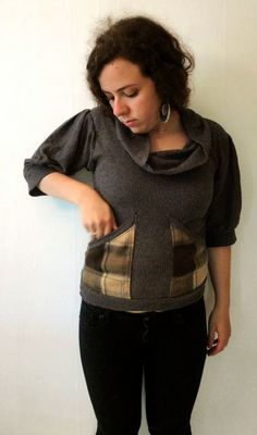 Gray Cowl Blouse with Plaid Flannel Pockets in by nicolecarey Etsy Winter 2013