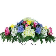 Peonies, Rose Buds and Cream Hydrangea         (Silk Cemetery Flowers)