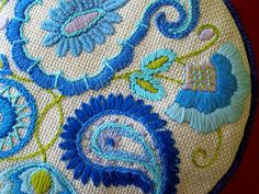 blue paisley embroidery