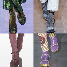 """Trendy Shoe Styling for #FW17: """"Double Shine"""" Metallic starbusrt glitter Socks paired with glittery Heels. Anna Sui, Isabel Marant, Missoni, and Gucci Fall Winter 2017.  More Shoes Trends for Fall Winter 2017."""