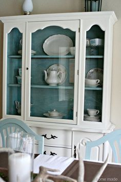 White and Aqua Hutch Makeover