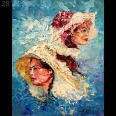 Figurative Woman Faces Hats Palette Knife Original Art Oil Painting Andre Dluhos | eBay