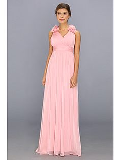 Adrianna Papell Long Irri Chiffon w/ Rosette Shoulders @ 6pm.com in Tea Rose, sizes 2-16, $72 discounted