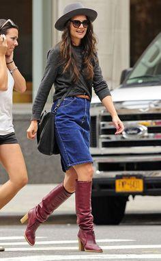 Katie Holmes Street Style #denim #leather