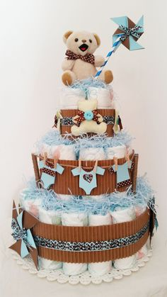 Diaper Cake - Torta ORSETTO By MARLIN CREAZIONI www.marlincreazioni.it