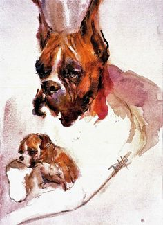 BOXER and PUP watercolor dog print signed by Carol by ratafia