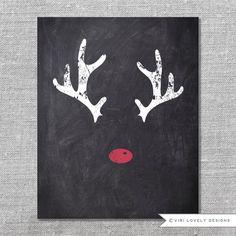 Chalkboard Print Digital File 5x7  8x10 - Christmas Printable / Instant download - Reindeer