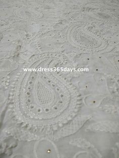 lucknowi white fabric