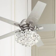 "LampsPlus.com 52"" Casa Optima™ Brushed Steel Crystal Ceiling Fan - Style # 86646-66116-8R575"