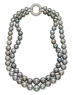 Cultured pearl and diamond necklace