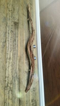 Driftwood front entry door handle made by myself. Email for enquiries urbanliving@live.com.au Front Door Handles, Door Pulls, Front Entry, Entry Doors, Rustic Doors, Driftwood, Woodworking, House Ideas, Houses