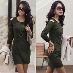 Como combinar una vestido verde militar