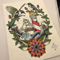 Neo-Traditional-Flowers-Lighthouse-Tattoo-Design tattoo for men tattoos tattoo tattoo japones tattoo tattoo traditional Traditional Nautical Tattoo, Traditional Thigh Tattoo, Traditional Lighthouse Tattoo, Traditional Tattoo Flowers, Traditional Tattoo Design, Traditional Sailor Tattoos, Traditional Tattoo Drawings, Compass Tattoo, Magpie Tattoo