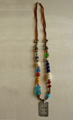 Sundance African Trade Beads and Leather Necklace