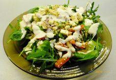 Szezámos csirkesaláta rukkolával és juhsajttal Cobb Salad, Potato Salad, Cabbage, Grains, Food And Drink, Potatoes, Rice, Vegetables, Ethnic Recipes
