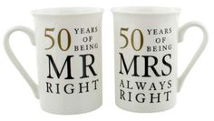 Funny Ivory Anniversary Mr Right & Mrs Always Right Mug Gift Set Golden Wedding Anniversary Gifts, Anniversary Ideas, Mrs Always Right, Perfect Kiss, Couple Mugs, Wedding Humor, Love Gifts, Thoughtful Gifts, Funny Gifts