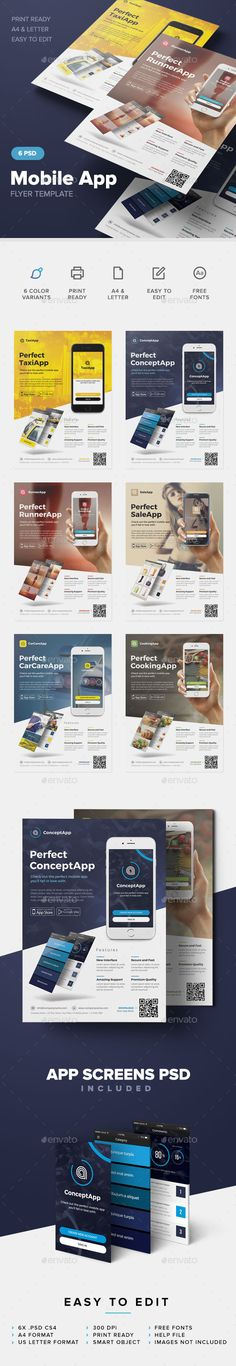 Mobile App Flyer Template #design Download: http://graphicriver.net/item/mobile-app-flyer-template/12649951?ref=ksioks