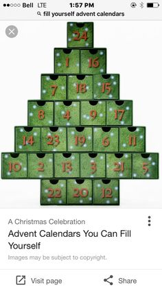 O Christmas Tree Treasure Box Advent Calendar, Free Standing: Vermont Christmas Company Homemade Advent Calendars, Wooden Advent Calendar, Days To Christmas, Christmas Countdown, Christmas Kitchen, Christmas Ideas, Christmas Crafts, Merry Christmas, Christmas Decorations