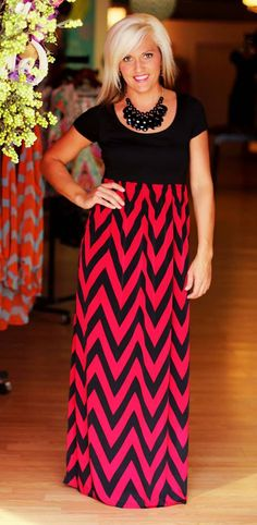 Gorgeous Game day Arrival!  Garnet/Black Chevron Gameday Maxi Dress.  $42.50.  Available at 105 West Boutique in Abbeville, SC.  Go Gamecocks!