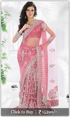 Diwali Shopping Collection Pink-Crystals-Enhanced-Net-Lehenga-Saree