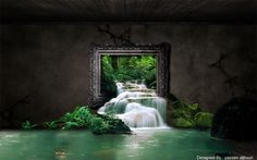 A beautifull canvas, gorgeous.. I really like this type of waterfall in my salon ;-)