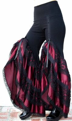 Saloon Girl Pant 4 Ruffles Black, Deep Plum Taffita Ruffles and Black Lace Ruffles. $160.00, via Etsy.