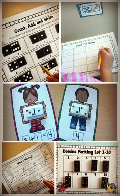 Year Round Domino Centers. Includes hands on Math Centers and printables/ Practice part, part whole, addition, subtraction, and number sense.