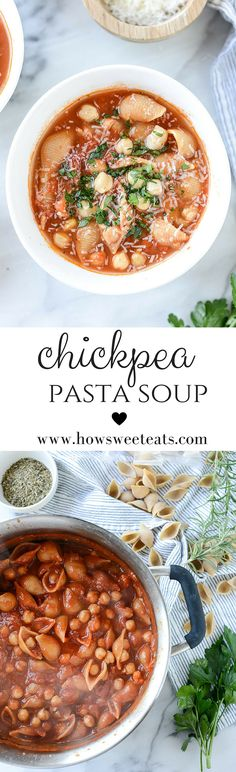 Chickpea Pasta Soup by @howsweeteats I howsweeteats.com
