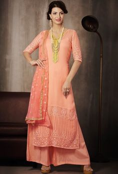 Sport liveliness everywhere you go dressed in this pink embroidered georgette palazzo suit. Beautified with lace and resham work. Indian Dresses, Indian Outfits, Peach Clothes, Palazzo Suit, Pakistan Fashion, 2 Piece Outfits, Online Shopping Stores, Pink Color, Colour